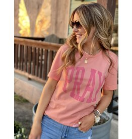 Pray Graphic Tee in Peach