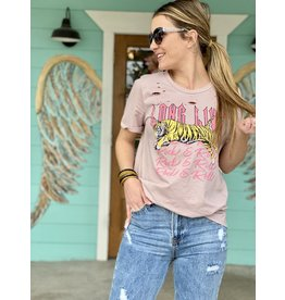 Long Live Rock Distressed Tee in Rose
