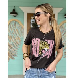 Rock Leopard Distressed Tee in Charcoal