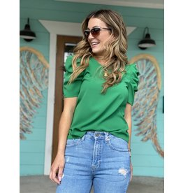 Kelly Green Puff Sleeve Top