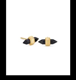 Kendra Scott Jamie Stud Earring Gold Black Obsidian