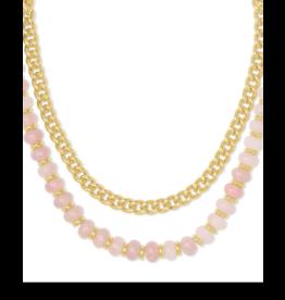 Kendra Scott Rebecca Multi Strnd Necklace Gold Rose Quartz