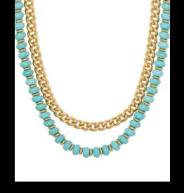 Kendra Scott Rebecca Multi Strnd Necklace Gold Variegated Turq