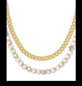 Kendra Scott Rebecca Multi Strnd Necklace Gold White Howlite