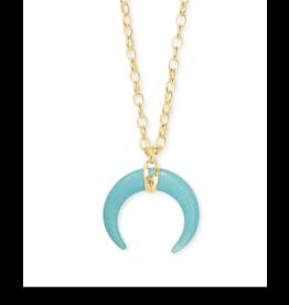 Kendra Scott Rebecca Long Pendant Necklace Gold Variegated Turq