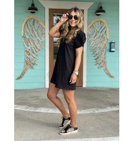 Z Supply Indi Slub Puff Sleeve Dress - Black