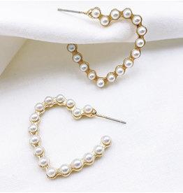 Treasure Jewels Pearl Heart Hoop Earrings