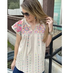 Embroidered V Neck Cap Sleeve Top in Oyster