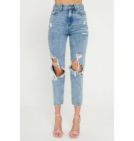 Light Wash Destroyed Jeans - High Waist