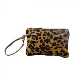 Leopard Print Hair On Hide Wristlet - 2825