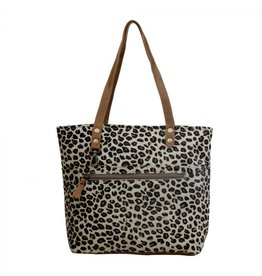 Leopard Print Hair On HideTote w/Zipper S-35