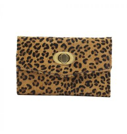 Leopard Print Twist Hair On Hide Clutch Wallet
