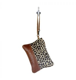 Leopard Print and Tooled Leather Wristlet S-17