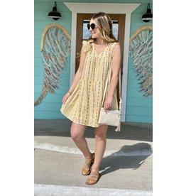 Mustard Stripe Embroidered Dress