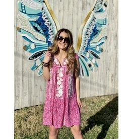 Hot Pink Patterned V-Neck Dress