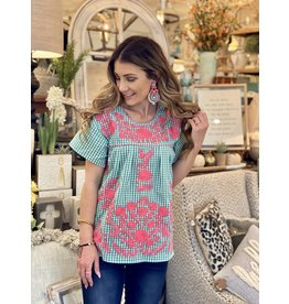Turquoise Gingham Top w/Hot Pink Embroidery