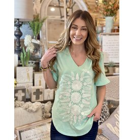 Mint Top with White Embroidery