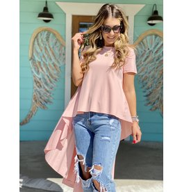Blush Pink Knit SS Top w/Longer Length Dramatic Back