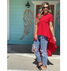 Red Knit SS Top w/Longer Length Back