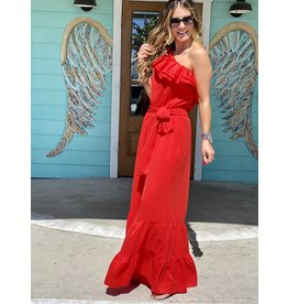 Red One Shoulder Maxi Jumpsuit