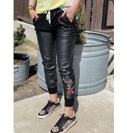 Faux Leather Embroiderd Joggers