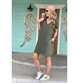 Olive V-Neck Short Sleevev Shift Dress