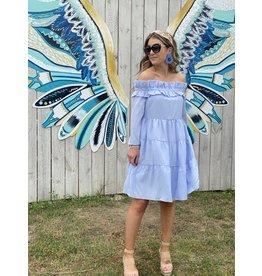Off Shoulder Stripe Dress - Powder Blue
