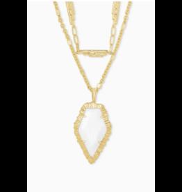 Kendra Scott Tessa Multi Strand Necklace Gold White Mussel