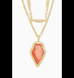 Kendra Scott Tessa Multi Strand Necklace Gold Papaya Pearl