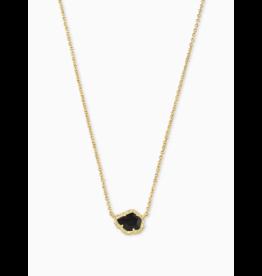 Kendra Scott Tessa Short Necklace Gold Black Obsidian