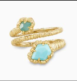 Kendra Scott Tessa Wrap Ring Gold Lt. Blue Magnesite