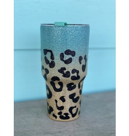 Gold & Turquoise Leopard Insulated Cup
