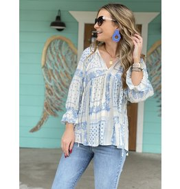 Cream & Blue Print Blouse