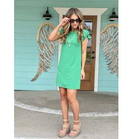 Flutter Sleeve Dress in Kelly Green