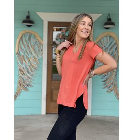 V Neck Short Sleeve Tee in Coral