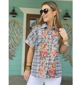 Denim Button Down w/Embroidery
