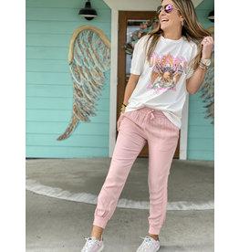 Pink Mineral Wash Drawstring Pants