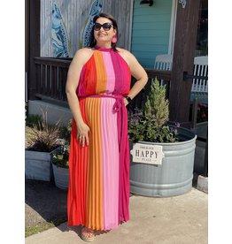 Bright Pleated + Plus Maxi Dress