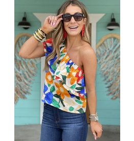 Bright Floral One Shoulder Top