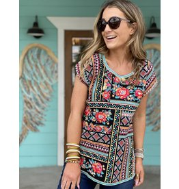 Black Multi Embroidered Drop Sleeve Top