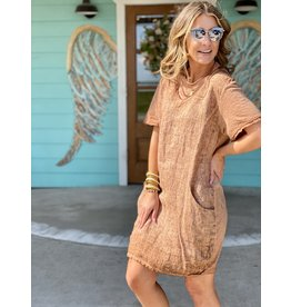 V-Neck Raw Linen Dress in Rust