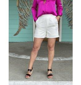 White Polished Short w/Elastic Back