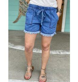 Blue  Wash Raw Edge Tencel Shorts