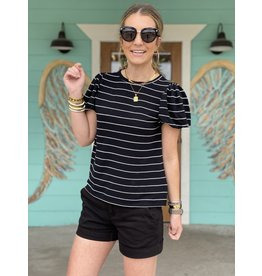 Black w/White Stripe Puff Sleeve Top