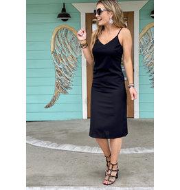 Woven Black Midi Dress