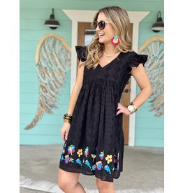 Black Lace Eyelet Embroidered Dress
