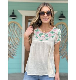 Cream w/Pink Embroidered Short Sleeve Top