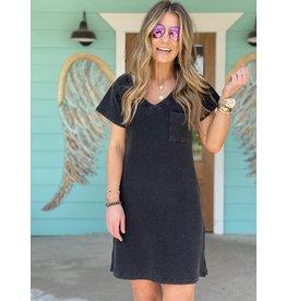 Black Washed Thermal Short Sleeve Dress