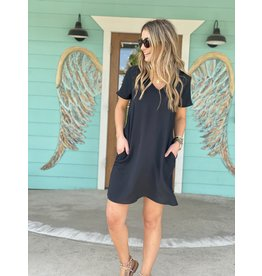 Black V-Neck Short Sleeve Shift Dress