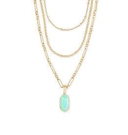 Kendra Scott Elisa 3-Strand Gold Matte Iridescent Mint